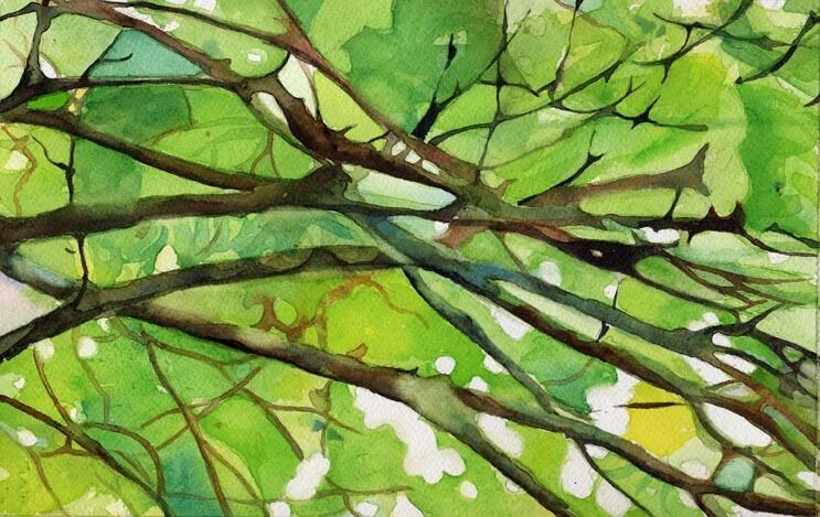 giclee print tree branches landscape abstract painting art