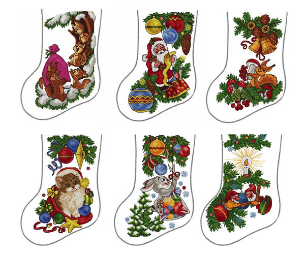 ABC Designs 6 Christmas Stockings Machine Embroidery