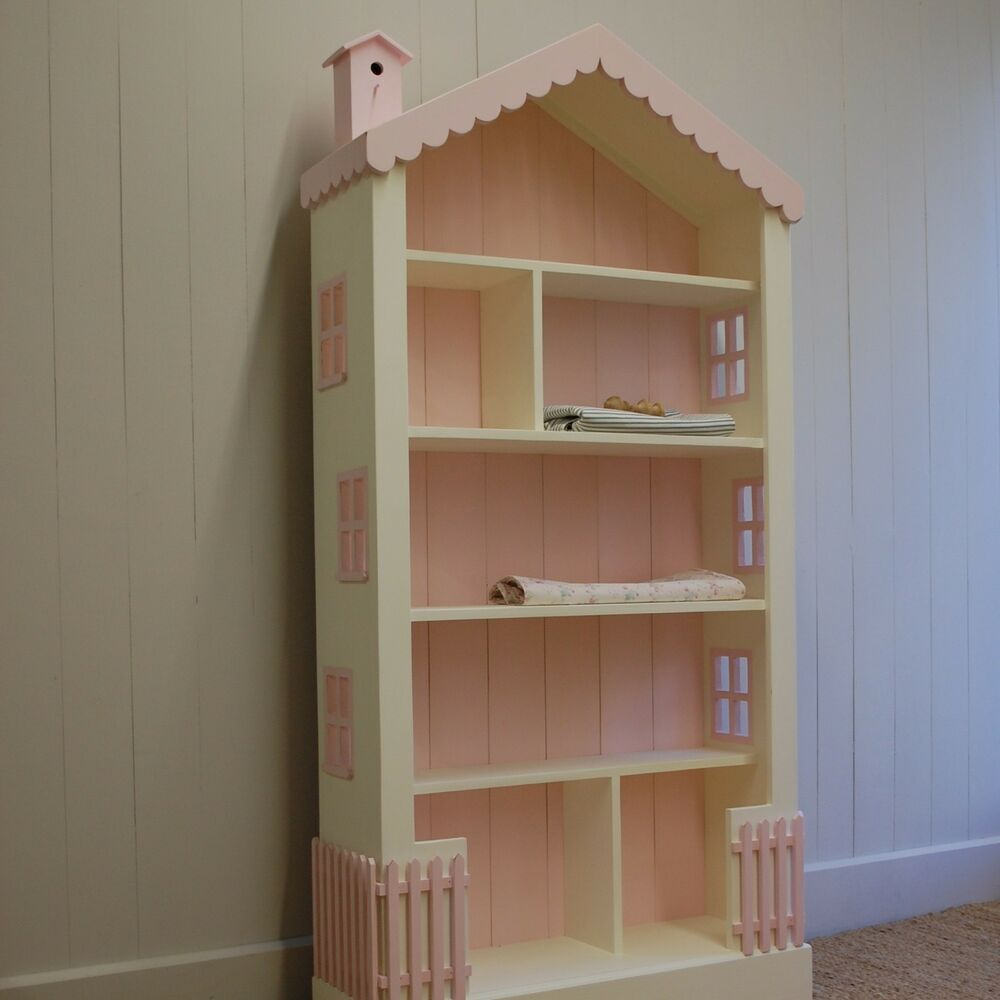 Dollhouse Large Bookcase 6 Ft High 15 Wood Paints Stains Cottage Style ...