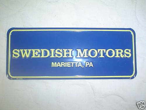 Blue And Yellow Swedish Motors License Vanity Plate New Ebay