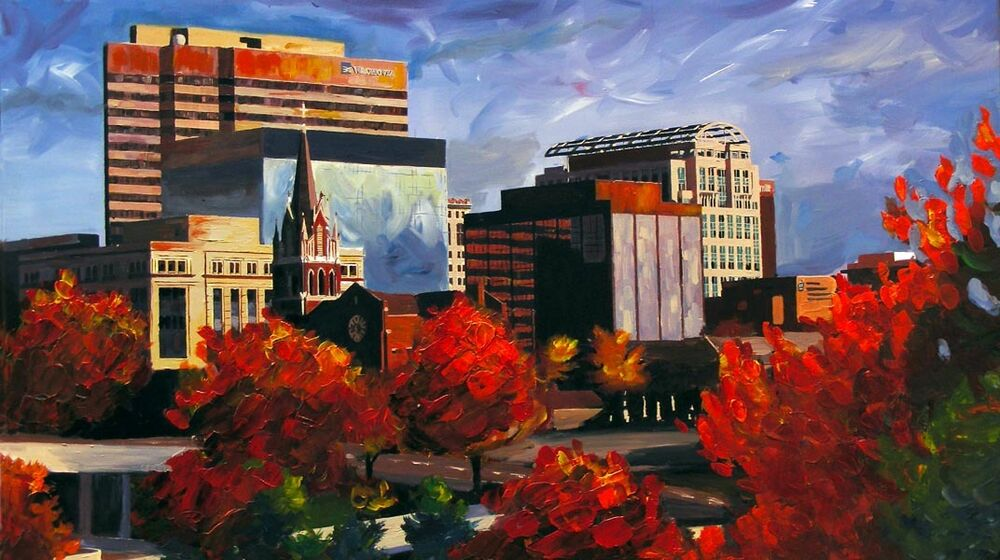 Giclee print landscape columbia sc skyline painting art for Craft stores columbia sc