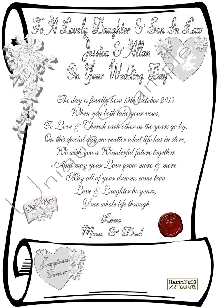 Daughter Son In Law Wedding Day Personalised Scroll Laminared Or Parchment Ebay
