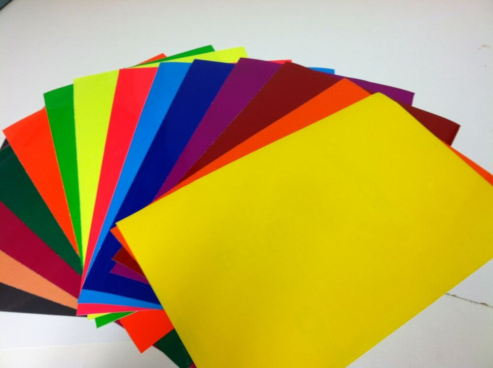 colored transparent vinyl sheets,  x , adhesive, coloring