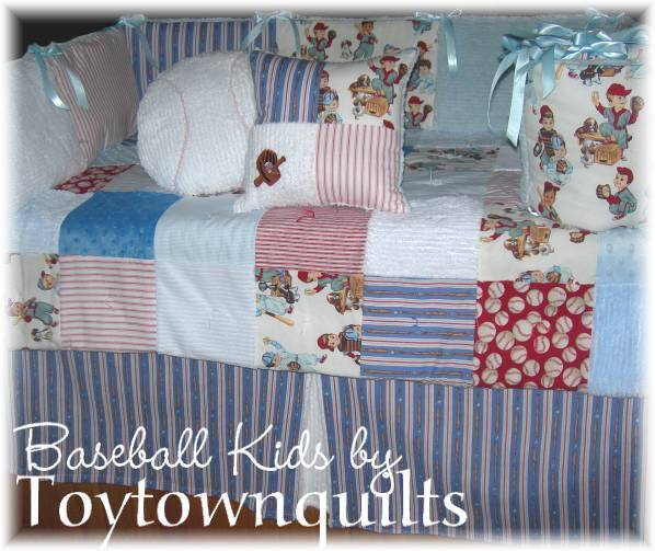 Vintage Baseball Kids Baby Boy Crib Quilt Bedding Blue Ebay