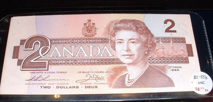 Biggest Bank In Canada >> BANK OF CANADA 1986 $2 NOTES BC-55b ***UNC*** | eBay