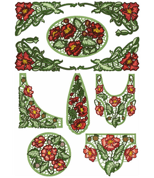 Abc designs 9 poppies lace standalone machine embroidery for Embroidery office design version 7 5