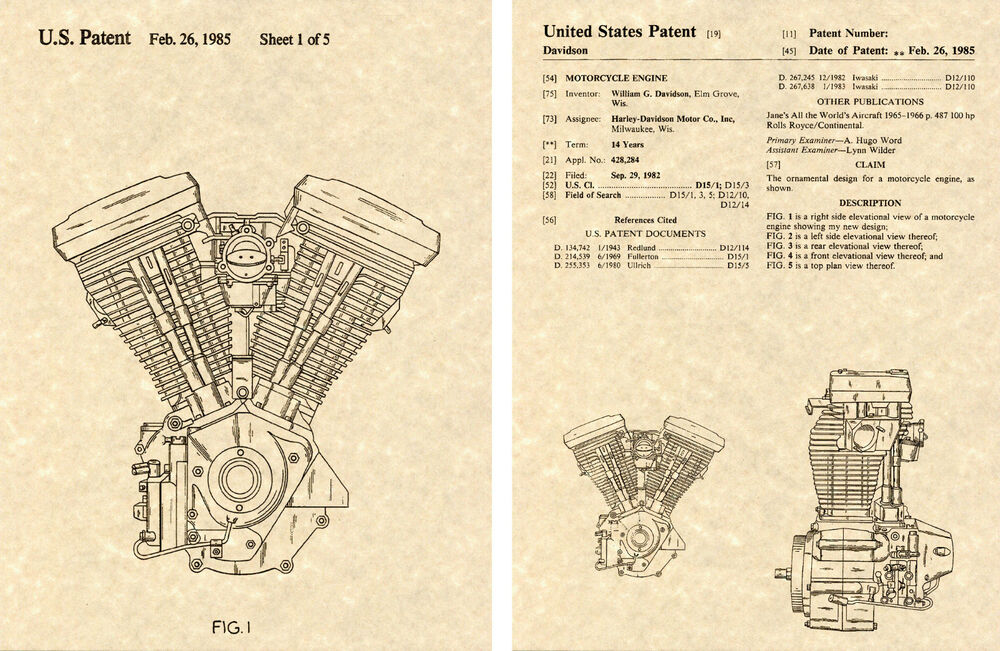 us patent harley davidson evolution engine art print ready to