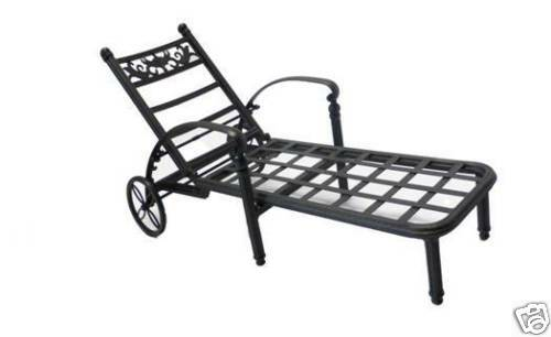 basso outdoor cast aluminum chaise lounge w cushion ebay. Black Bedroom Furniture Sets. Home Design Ideas