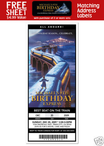 6 the polar express movie birthday party personalized
