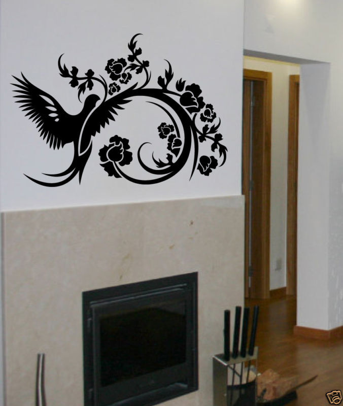 bird flower wall decal deco art sticker mural ebay. Black Bedroom Furniture Sets. Home Design Ideas