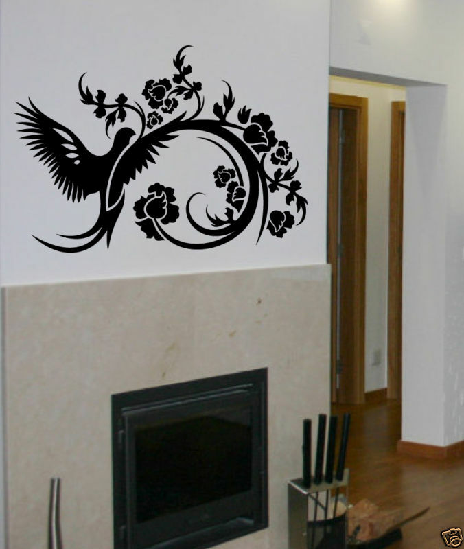 Bird flower wall decal deco art sticker mural ebay for Sticker deco