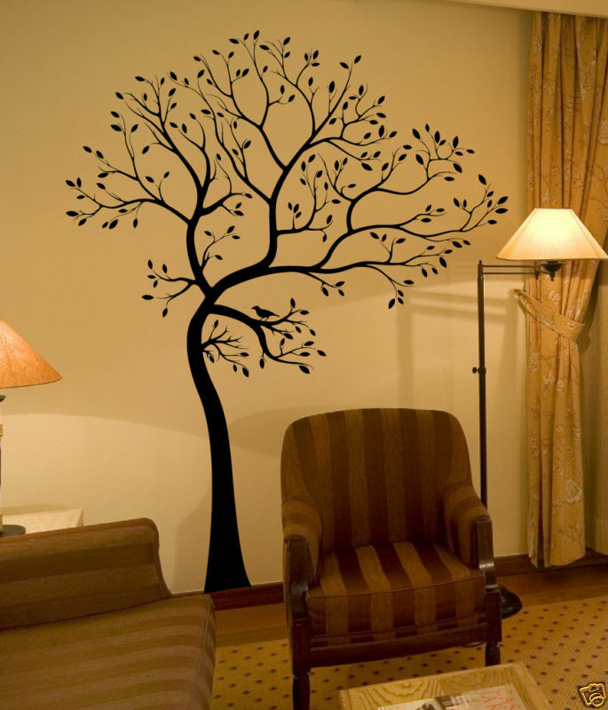 Wall decal big tree with bird deco art sticker mural ebay for Black tree mural