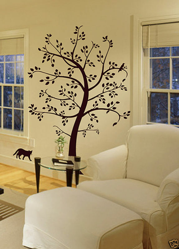 BIG TREE CAT & BIRD Wall Decal Deco Art Sticker Mural