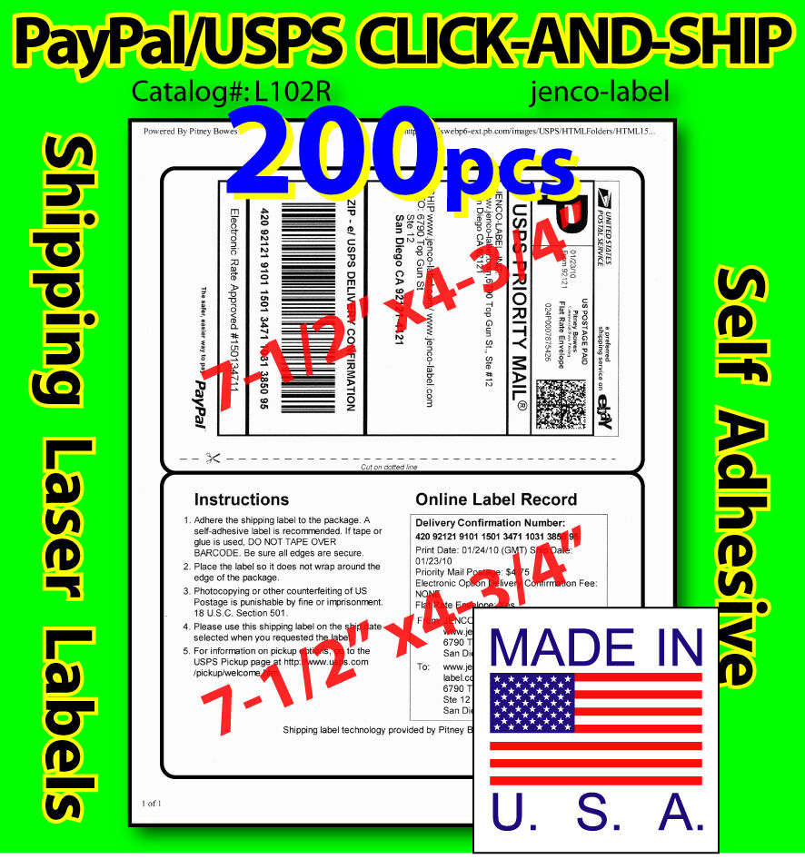 L102R, 200 PAYPAL/USPS CLICK-AND-SHIP Shipping Labels