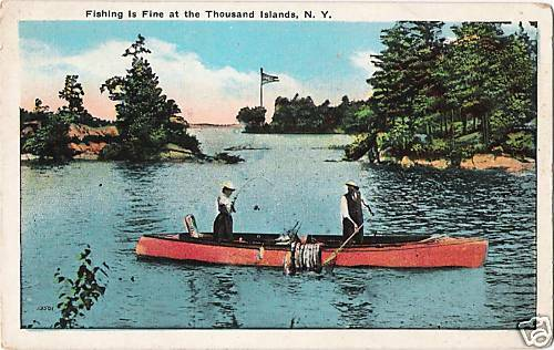 Postcard New York Thousand Islands Fishing Canoeing Ca
