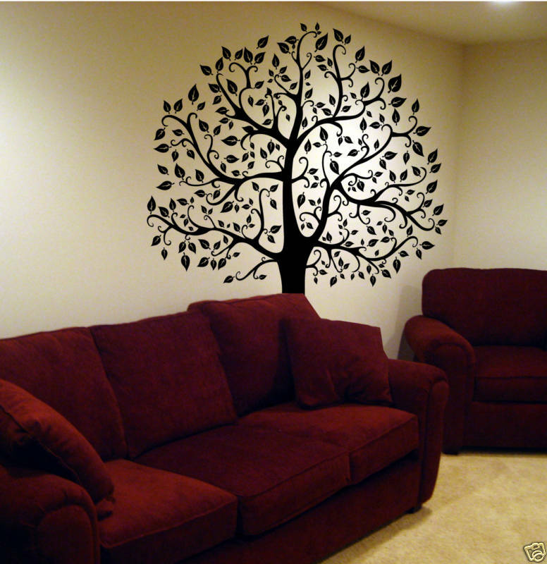 Wall decal 6 ft big tree deco art sticker mural in black for Deco mural stickers