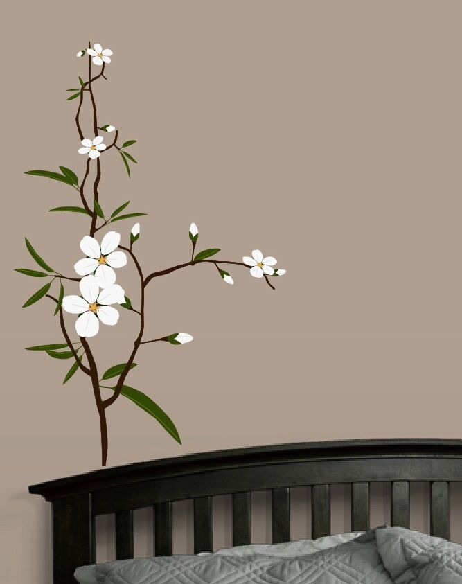 Flower branch wall decal deco art sticker mural ebay for Deco mural stickers