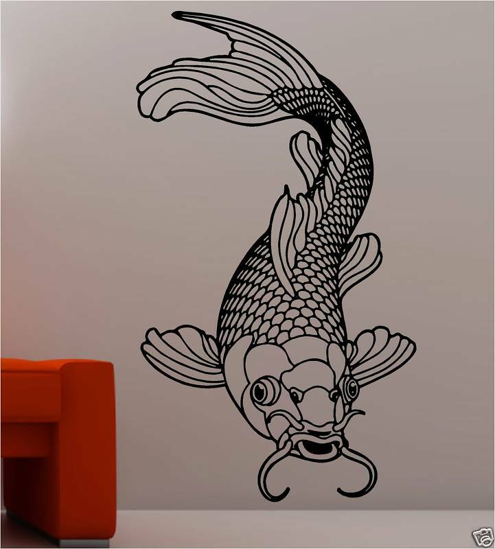 Stunning koi carp fish wall art sticker vinyl bathroom ebay for Koi carp wall art