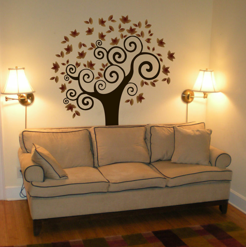 wall decal tree deco art sticker mural amazing colors ebay. Black Bedroom Furniture Sets. Home Design Ideas