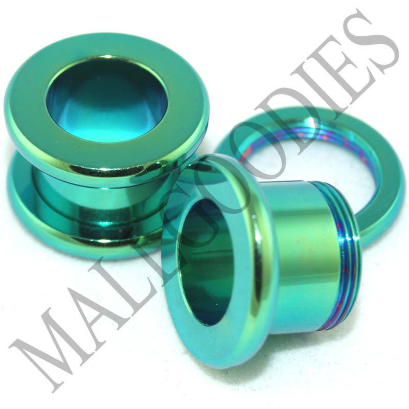 0535 Green Screw-on Tunnels 00 Gauge 00G 10mm Ear Plugs | eBay