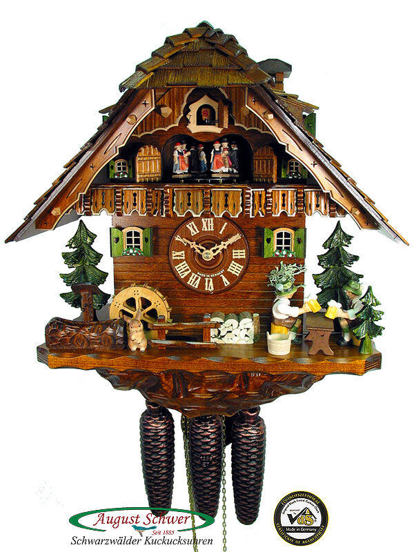 Black Forest Cuckoo Clock 8 Day Two Beerdrinkers New Ebay