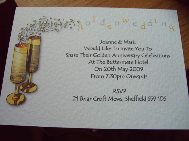 Golden Wedding Anniversary Invitations Wording: GOLDEN WEDDING ANNIVERSARY INVITATIONS PERSONALISED 5pk