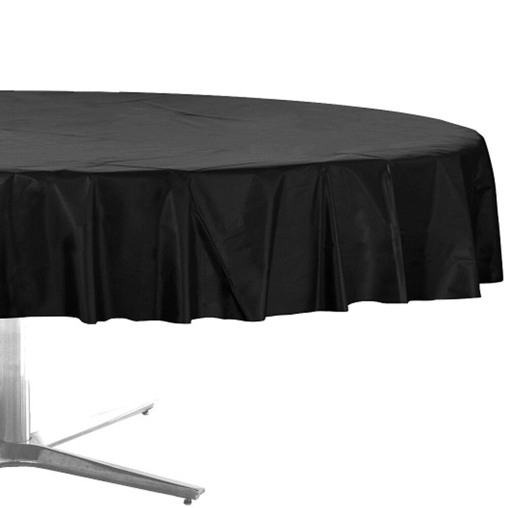 "84"" Black Round Plastic Tablecover Table Cover Cloth"