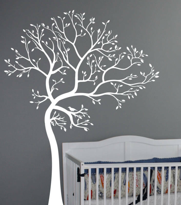 Large wall decal tree with bird deco art sticker mural ebay for Black tree wall mural