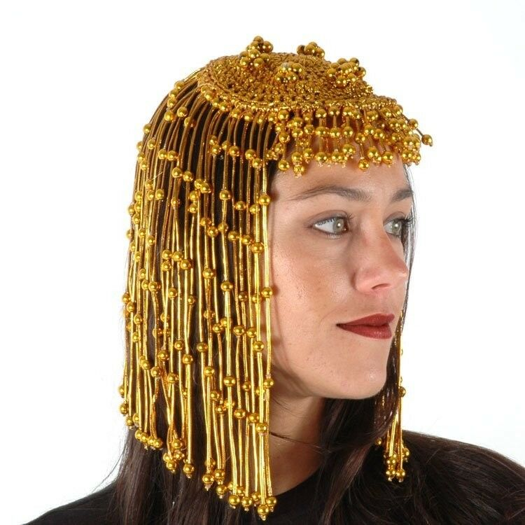 Gold Beaded CLEOPATRA Headpiece wig gypsy flapper egyptian