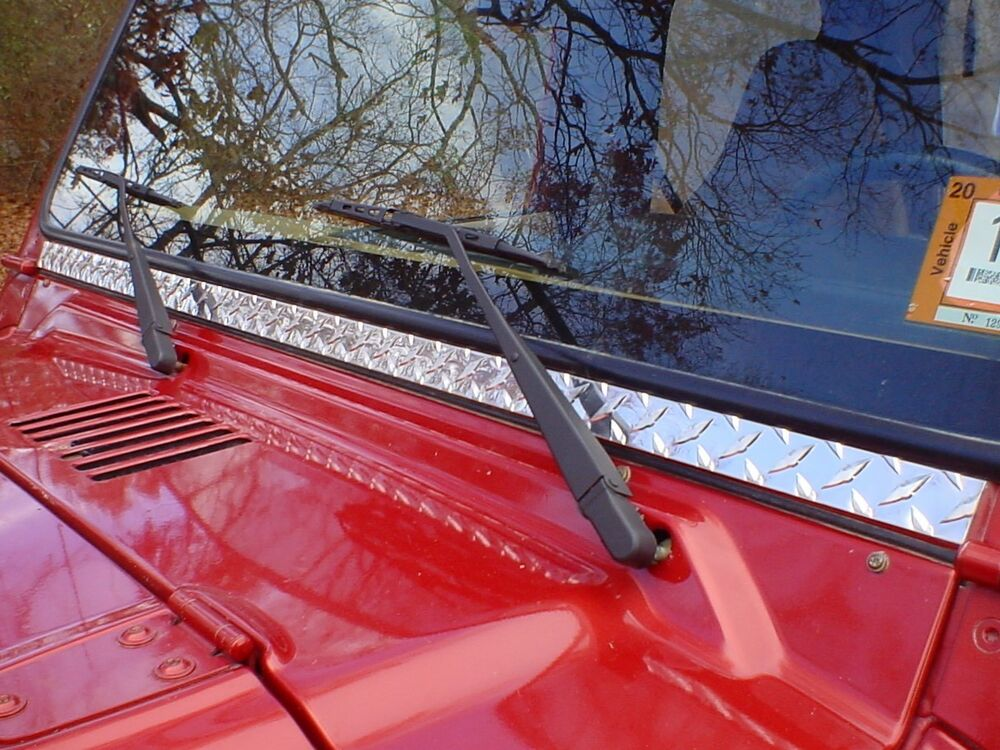 JEEP TJ WRANGLER DIAMOND PLATE WINDSHIELD FRAME COVER Only $21 w ...