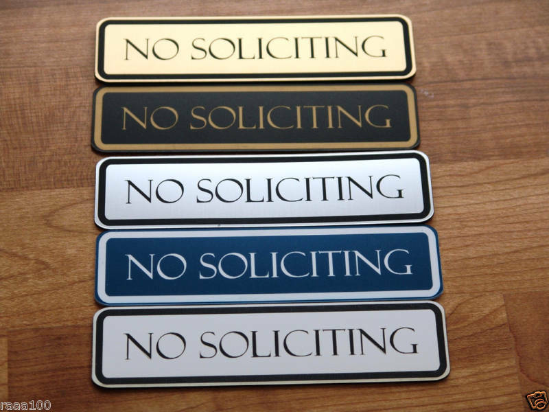 Engraved No Soliciting Sign Front Door Signs Laser Ebay