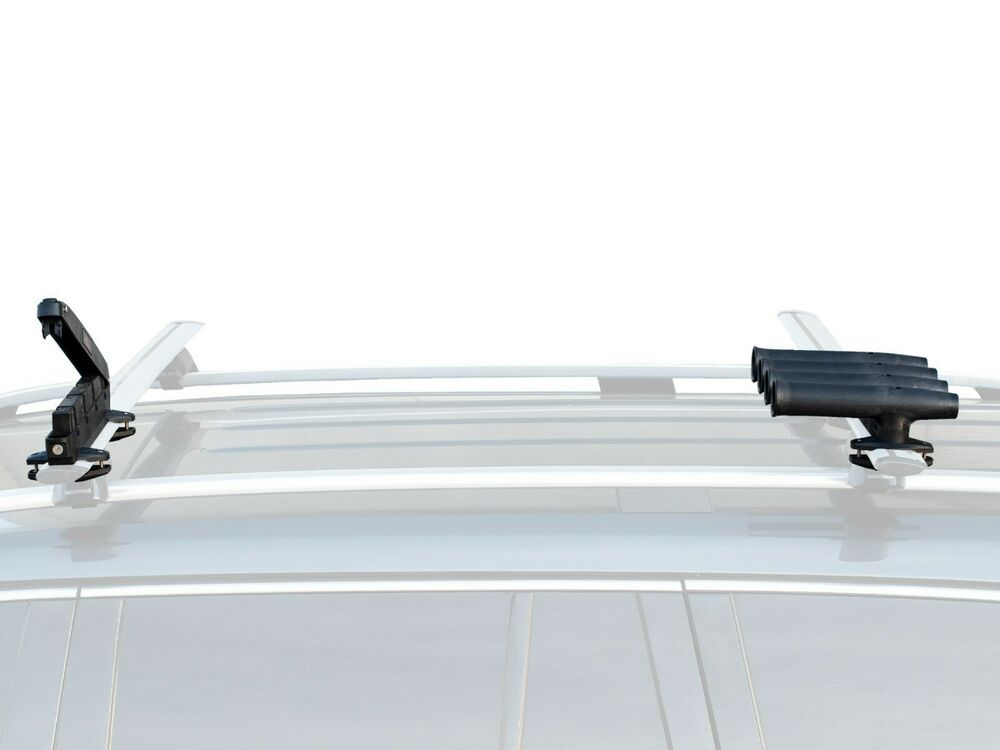 Car suv roof rack fishing rod transportation system 4 for Roof rack fishing rod holder