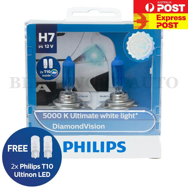 h7 philips diamond vision 5000k 12v 55w white light halogen globes bulbs 12972 ebay. Black Bedroom Furniture Sets. Home Design Ideas