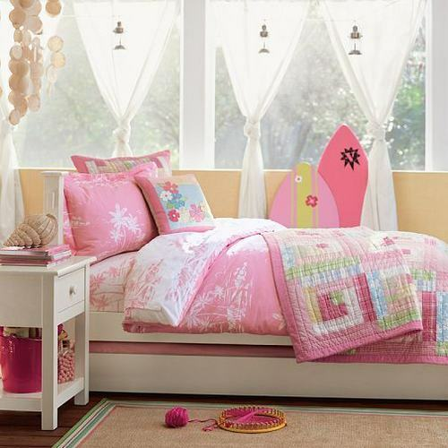 Pottery Barn Pink Quilt: Pottery Barn Girl's Pink Aloha Full/Queen Quilt Set~NEW