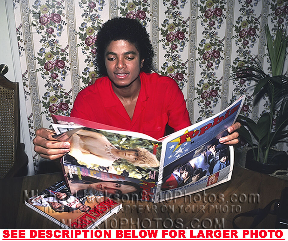 Michael Jackson 1985: MICHAEL JACKSON 1985 READING TEENMAG 1xRARE8x10 PHOTO