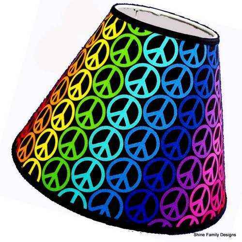 Peace Sign Bedroom Accessories: Rainbow Peace Sign Lamp Shade