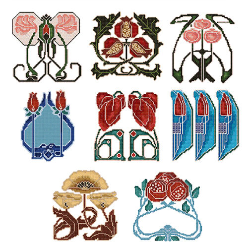 Abc designs art nouveau borders machine embroidery cross