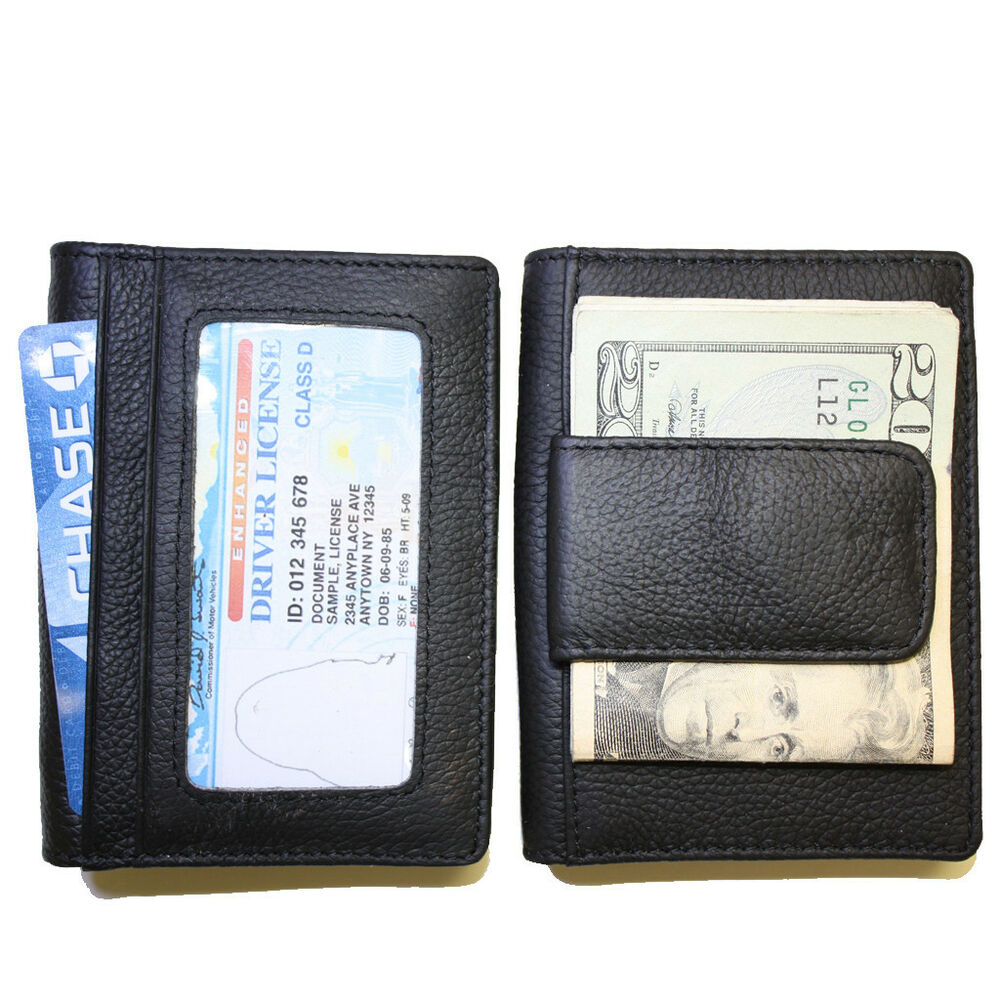 Men 39 s leather credit card holder wallet w 2 id windows ebay for 2 id window wallet