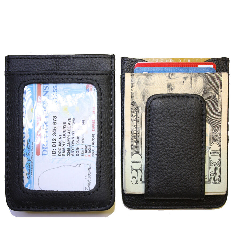 Men S Leather Wallet Credit Card Id Holder Money Clip Ebay