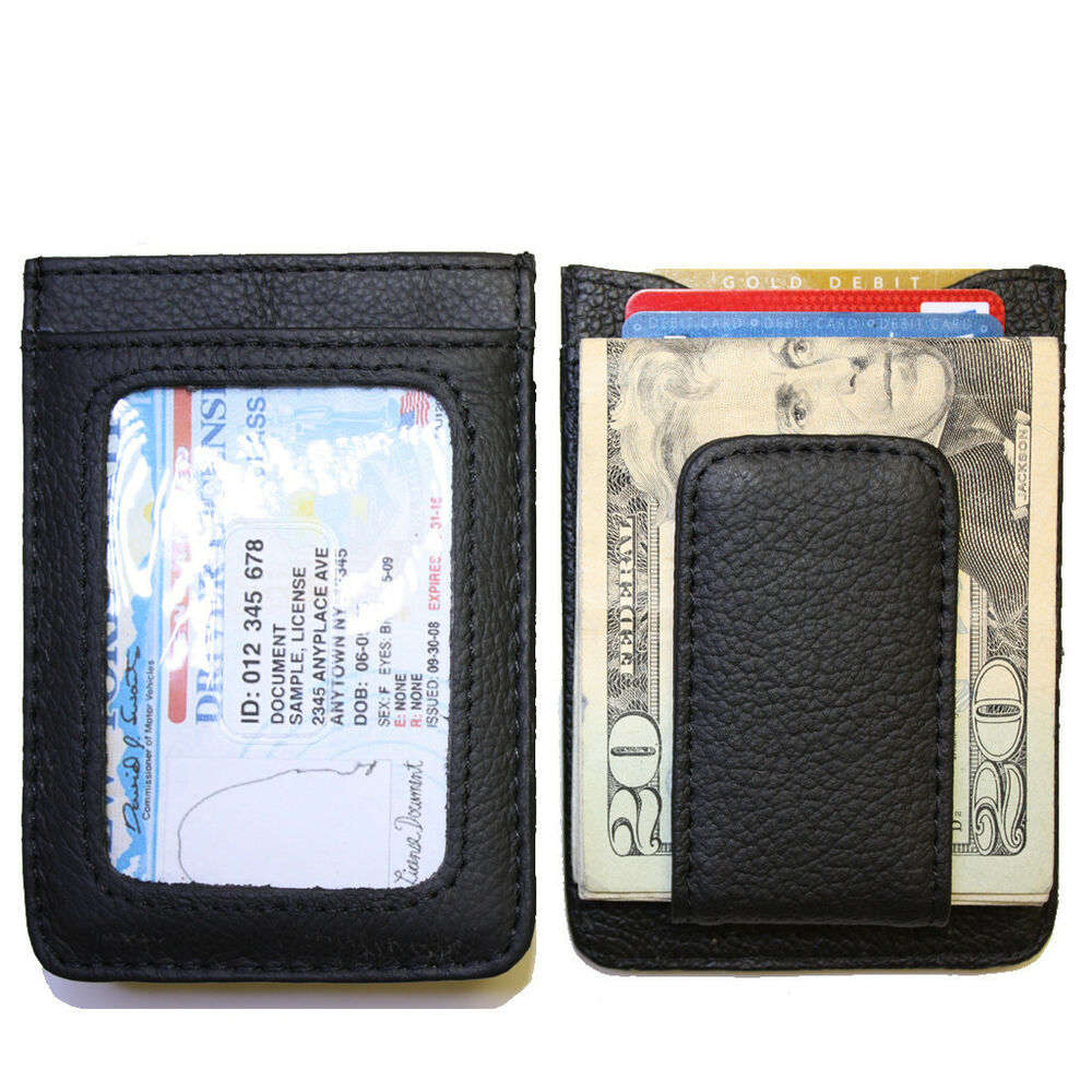 Men's Leather Wallet Credit Card ID Holder Money Clip ...