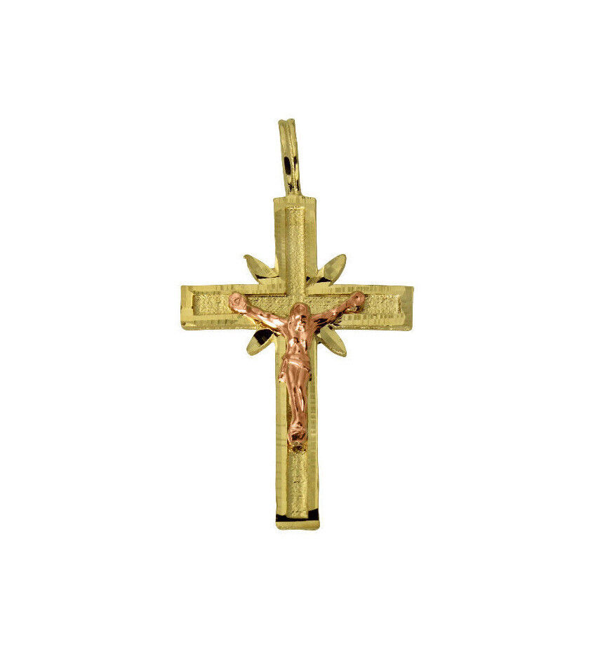 14k Gold Crucifix Necklace: 14K Solid Yellow Pink Gold Cross Crucifix Charm Pendant