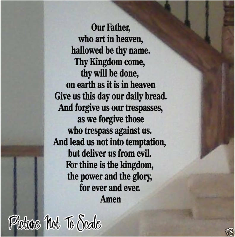The Lords Prayer Vinyl Wall Decal Bible Scripture Ebay