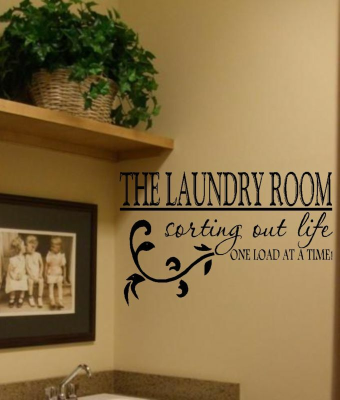 The laundry room vinyl wall decal decor lettering art ebay for Room decor wall art