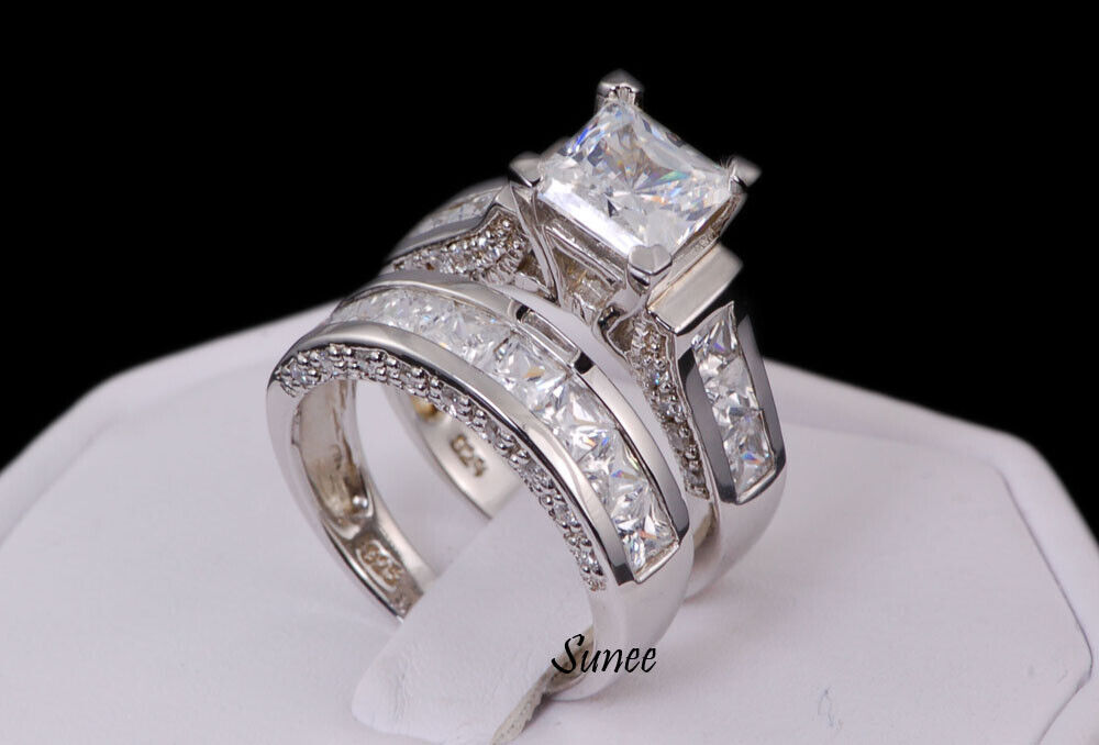 14k White Gold 925 Sterling Princess Diamond Cut