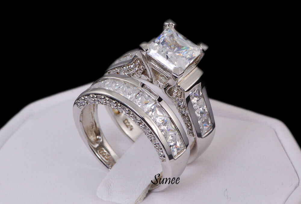 princess cut aaa cz sterling silver wedding ring. Black Bedroom Furniture Sets. Home Design Ideas