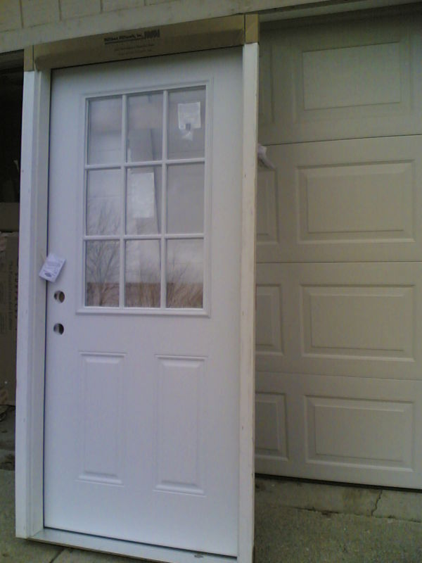 Brand new 36 x80 steel exterior door w 9 lite glass for Outside doors and frames
