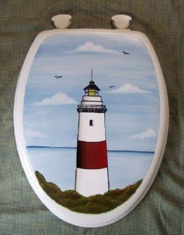 HAND PAINTED TOILET SEAT/LIGHTHOUSE/NAUTICAL/ELONGATED/NEW ...
