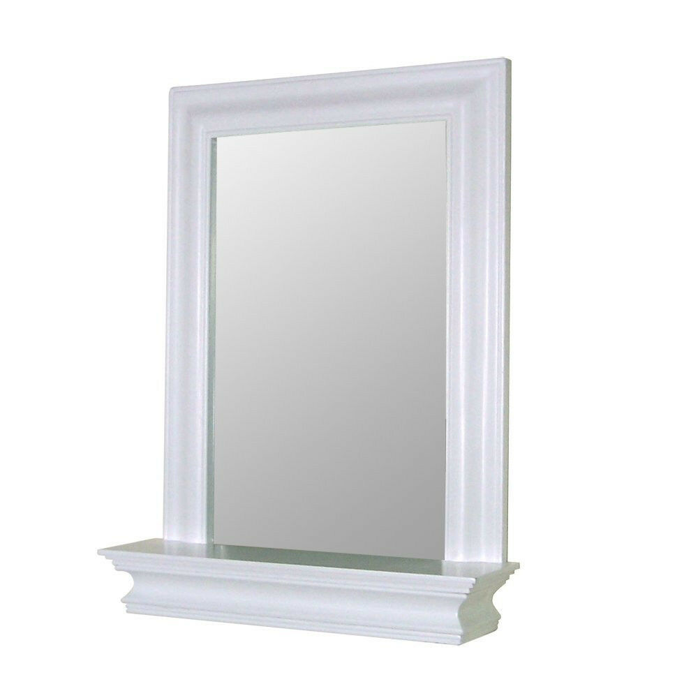 hanging white frame bedroom mantle bath wall mirror for
