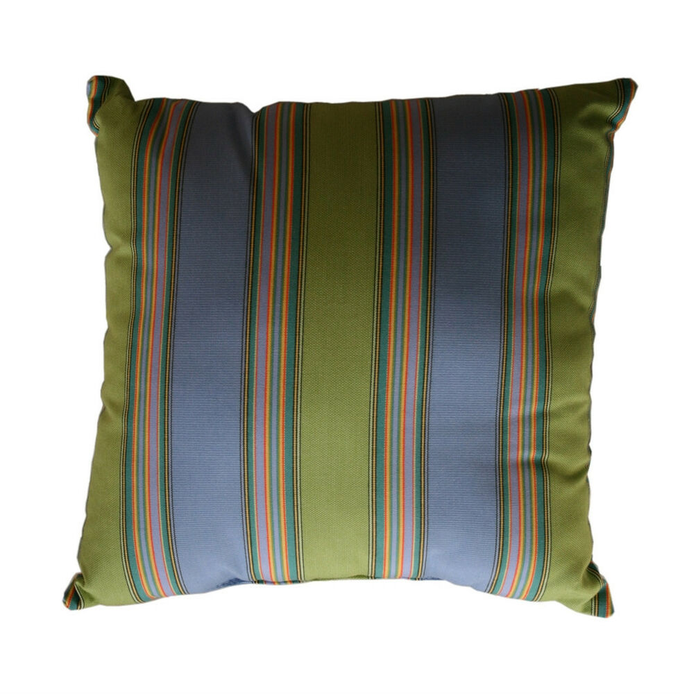 Blue And Green Striped Throw Pillows : Throw Pillows Sunbrella Bravada Limelite 5602 (Set/2) Blue Green Striped Square eBay