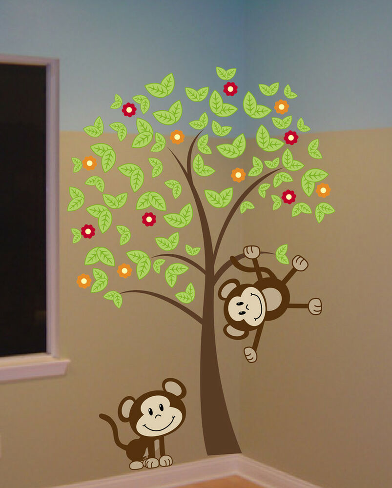 6 ft big tree with monkeys wall decal sticker mural ebay. Black Bedroom Furniture Sets. Home Design Ideas